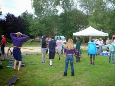 Circus Arts Teaching How to Hula Hoop Picnic 2015