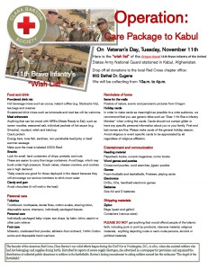 Wish List of the 11th Bravo Infantry of the United States Army National Guard stationed in Kabul, Afghanistan