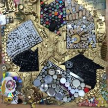 The completed art was made entirely from salvaged materials from NextStep and MECCA. It was presented as a winning trophy for the winner of the community-wide electronics recycling competition.
